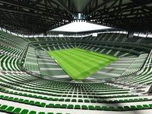 3D rinden de un fútbol de la capacidad grande - estadio de fútbol con un tejado abierto y asientos verdes Imagen de archivo libre de regalías