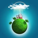 3D rinden de un globo herboso con una casa y de árboles debajo del arco iris Fotografía de archivo libre de regalías