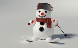 3d rinden de un muñeco de nieve Fotos de archivo