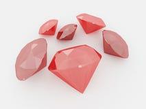 3D rinden de un racimo de rubíes Foto de archivo libre de regalías