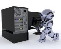 Robot con el ordenador ilustración del vector