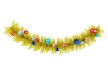 3d rinden de una decoración de oro hermosa de la guirnalda de la Navidad Fotos de archivo