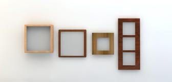 3d rinden de una selección de bastidores en una pared blanca Imágenes de archivo libres de regalías