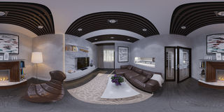 3d rinden del diseño interior de una sala de estar Stock de ilustración