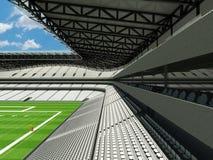 3D rinden del estadio de fútbol americano grande moderno hermoso con los asientos blancos Imagen de archivo libre de regalías