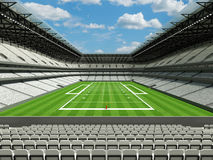 3D rinden del estadio de fútbol americano grande moderno hermoso con los asientos blancos Imagenes de archivo