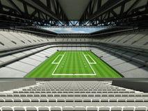 3D rinden del estadio de fútbol americano grande moderno hermoso con los asientos blancos Fotografía de archivo libre de regalías