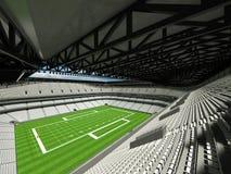 3D rinden del estadio de fútbol americano grande moderno hermoso con los asientos blancos Fotografía de archivo