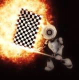 3D rinden del robot con el estallido a cuadros de la bandera libre illustration