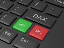 3d rinden del teclado de ordenador con el botón del índice de DAX Fotografía de archivo