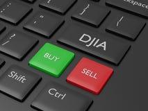3d rinden del teclado de ordenador con el botón del índice de DJIA Fotografía de archivo libre de regalías