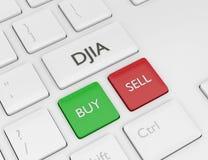 3d rinden del teclado de ordenador con el botón del índice de DJIA Fotos de archivo libres de regalías