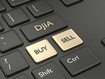 3d rinden del teclado de ordenador con el botón del índice de DJIA Fotos de archivo
