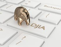 3d rinden del teclado de ordenador con el botón del índice de DJIA Imagenes de archivo