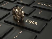 3d rinden del teclado de ordenador con el botón del índice de DJIA Imagen de archivo libre de regalías