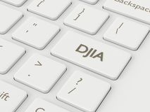 3d rinden del teclado de ordenador con el botón del índice de DJIA Imágenes de archivo libres de regalías