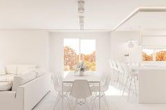 3d rinden diseño interior de la sala de estar moderna con la chimenea Fotografía de archivo libre de regalías
