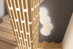 3d rinden diseño interior de un salón en una casa de campo privada Fotografía de archivo libre de regalías