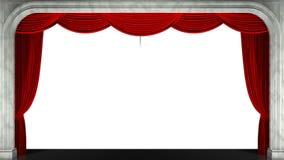 3D rinden el clip de una cortina roja de la etapa de la abertura Máscara animada añadida almacen de metraje de vídeo