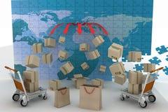 3d rinden el concepto de envío por todas partes Fotografía de archivo