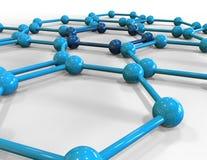 3d rinden el ejemplo de la estructura molecular de la malla Imagen de archivo