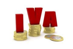 3D rinden el ejemplo de tres pilas euro de una moneda con la palabra IVA Imágenes de archivo libres de regalías