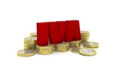 3D rinden el ejemplo de varias pilas euro de una moneda con la palabra IVA Foto de archivo libre de regalías
