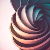 3D rinden el fondo abstracto Formas iluminadas coloridas en el movimiento El hemisferio gira en un espiral stock de ilustración