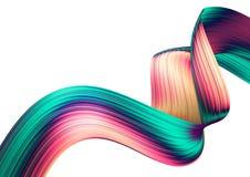 3D rinden el fondo abstracto Formas torcidas coloridas en el movimiento Arte digital generado por ordenador ilustración del vector