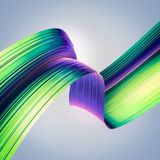 3D rinden el fondo abstracto Formas torcidas estilo colorido 90s en el movimiento Arte digital iridiscente para el cartel, fondo  Fotografía de archivo libre de regalías