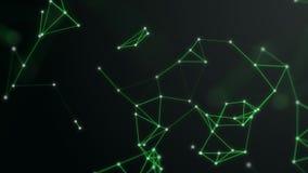 3D rinden el fondo del plexo Tema de la tecnología y de la conexión Los puntos brillantes están conectados con las líneas verdes  ilustración del vector