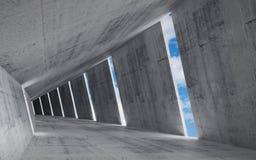 3d rinden el fondo, interior concreto vacío abstracto Imagen de archivo libre de regalías