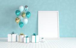 3d rinden el interior con el oro realista y los globos verdes, caja de regalo con mofa de la cinta encima del cartel en el cuarto libre illustration