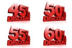 3D rinden el texto rojo descuento del 45,50,55,60 por ciento Fotografía de archivo