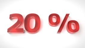 3D rinden el texto rojo el 20 por ciento apagado Foto de archivo libre de regalías