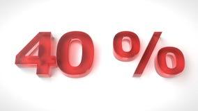 3D rinden el texto rojo el 40 por ciento apagado Imágenes de archivo libres de regalías
