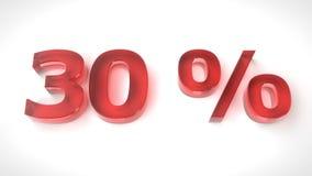3D rinden el texto rojo el 30 por ciento apagado Fotos de archivo libres de regalías