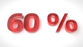 3D rinden el texto rojo el 60 por ciento apagado Foto de archivo