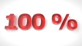 3D rinden el texto rojo el 100 por ciento apagado Imagen de archivo