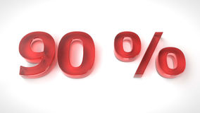 3D rinden el texto rojo el 90 por ciento apagado Fotografía de archivo