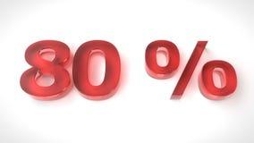 3D rinden el texto rojo el 80 por ciento apagado Imágenes de archivo libres de regalías