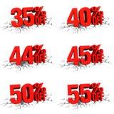3D rinden el texto rojo el 35,40,44,45,50,55 por ciento apagado en la grieta blanca Foto de archivo