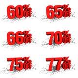 3D rinden el texto rojo el 60,65,66,70,75,77 por ciento apagado en la grieta blanca Imagen de archivo libre de regalías