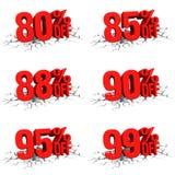 3D rinden el texto rojo el 80,85,88,90,95,99 por ciento apagado en la grieta blanca Fotos de archivo libres de regalías