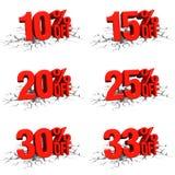 3D rinden el texto rojo el 10,15,20,25,30,33 por ciento apagado en la grieta blanca Imagen de archivo libre de regalías