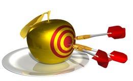 3d rinden - golpee la blanco en la manzana de oro ilustración del vector