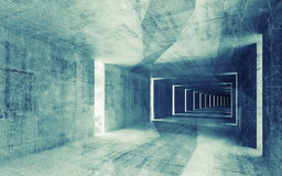 3d rinden, interior vacío abstracto entonado azulverde Fotografía de archivo libre de regalías