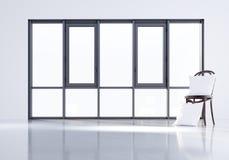3d rinden la almohada en slul en el fondo de una ventana grande Maqueta stock de ilustración