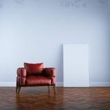 3d rinden la butaca roja en la opinión inicial de la mofa blanca del interior Fotografía de archivo