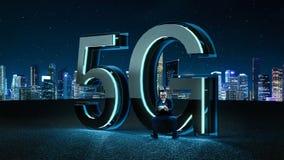 3D rinden la fuente futurista 5G con la luz de neón azul Fotos de archivo libres de regalías
